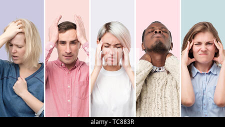 Collage of young men and women suffering from severe headache - Stock Photo