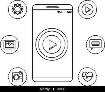 smartphone technology with play button and applications menu - Stock Photo