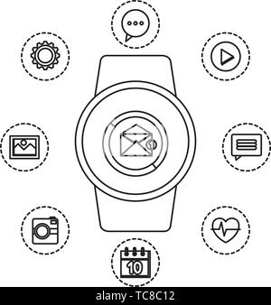 smartwatch with envelope email with applications - Stock Photo