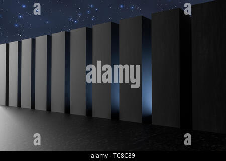 3D rendering,special effects polyhedron dark scenes Stock Photo
