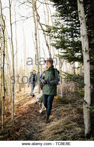 Couple with dog hiking in woods - Stock Photo