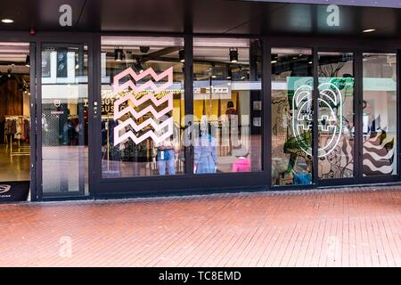Shop with Eindhoven logo in the window in Eindhoven, The Netherlands, Europe. - Stock Photo