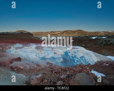 Extreme colours and shapes in the Seltun geothermal region - Stock Photo