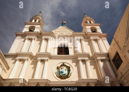 View to the facade of the Temple Of San Agustin-Templo De San Agustin or Santuario De Maria Auxiliadora in the historic center, Sucre, Chuquisaca - Stock Photo