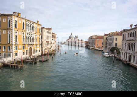 Venice Veneto Italy on January 19, 2019: View of Grand Canal from Accademia bridge.. - Stock Photo