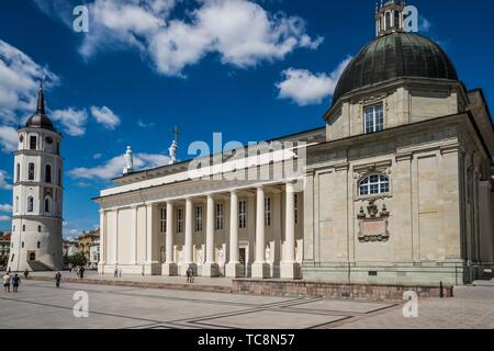 Belfry and side view of Vilnius Cathedral. Cathedral Square, Vilnius, Lithuania, Baltic States, Europe. - Stock Photo