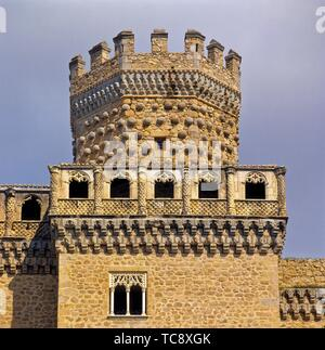Castle of Manzanares El Real. Madrid. Spain.Manzanares el Real is a 6,140 inhabitant town in the northern area of the autonomous Community of - Stock Photo