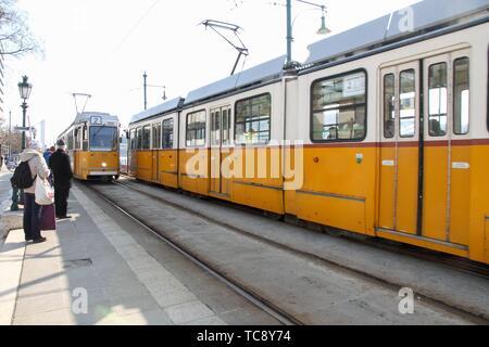 Tram in Budapest , Hungary. - Stock Photo