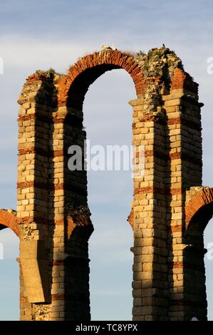 Merida (Spain). Arch of the Roman Aqueduct of Miracles in the city of Mérida. - Stock Photo