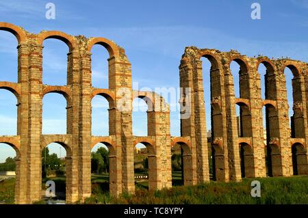 Merida (Spain). Roman Aqueduct of Miracles in the city of Merida. - Stock Photo