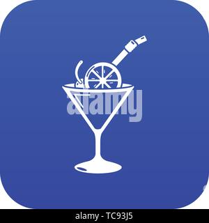 Cocktail icon blue vector - Stock Photo