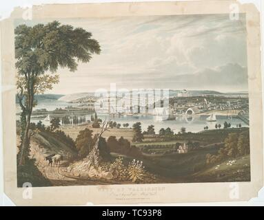 City of Washington from beyond the Navy Yard. Clover, Lewis Peter (b. 1790) (Publisher) Cooke, G. (George) (1793-1849) (Artist) Bennett, W. J. - Stock Photo