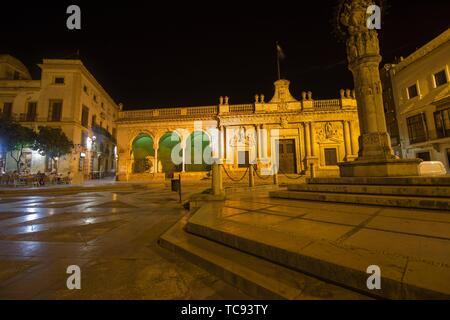 Jerez de la Frontera by night Andalusia Spain. - Stock Photo
