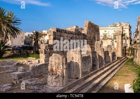 Temple of Apollo, Syracuse, Sicily, Italy. - Stock Photo