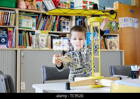 Boy in the classroom of studies and games, Plant for hospitalization of children, Pediatrics, Medical care, Hospital Donostia, San Sebastian, - Stock Photo