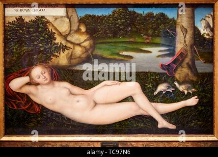 '''The Nymph at the Fountain'', 1530-1534, Lucas Cranach the Elder, Thyssen Bornemisza Museum, Madrid, Spain, Europe - Stock Photo