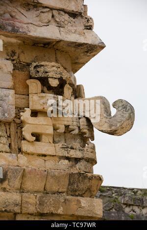 Choc Rain God Mask, Iglesias (Church), Chichen Itza, UNESCO World Heritage Site, Yucatan, Mexico - Stock Photo