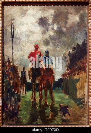 '''The Jockeys'', 1882, Henri de Toulouse-Lautrec, Thyssen Bornemisza Museum, Madrid, Spain, Europe - Stock Photo