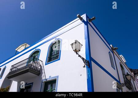 White house with lantarn in Mogan, Gran Canaria, Canary Islands. - Stock Photo