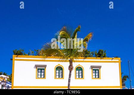 White house in Mogan, Gran Canaria, Canary Islands. - Stock Photo