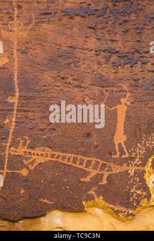Rochester Rock Petroglyph Panel, Near Emery, Utah, USA - Stock Photo