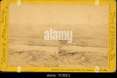 Conemaugh River, distant view, Johnstown, Pa. Additional title: Johnstown and Conemaugh Valley, Pa., disaster. May 31, 1889. Webster & Albee - Stock Photo