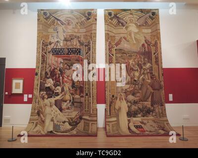 'Entrée d'Henri IV à Rennes et Alain Barbe-Torte'. Tapestries at the Musée des Beaux-Arts de Rennes. France. - Stock Photo