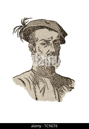 Badajoz, Spain - Jan 7th, 2019: Hernan Cortes Portrait. Draw from book Enciclopedia Autodidactica published by Dalmau Carles in 1954. - Stock Photo