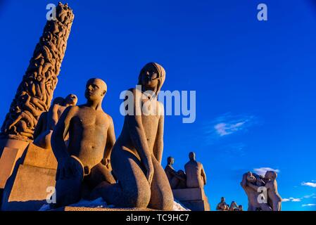 The sculpture park of Gustav Vigeland in the Frogner Park in Oslo, Norway. It is a permanent sculpture installation created by Gustav Vigeland - Stock Photo