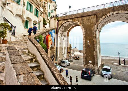 Atrani, Amalfi Coast, province of Salerno, Campania Region, Italy, Europe. - Stock Photo