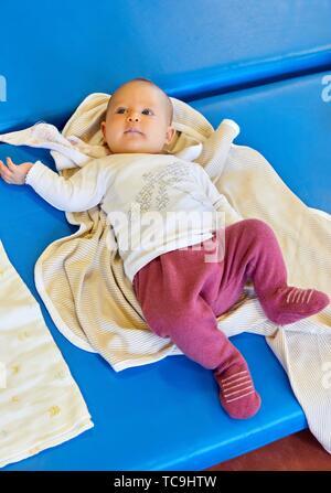 Baby, Mothers with babies in postpartum gymnastics, Health Center, Zarautz, Gipuzkoa, Basque Country, Spain - Stock Photo