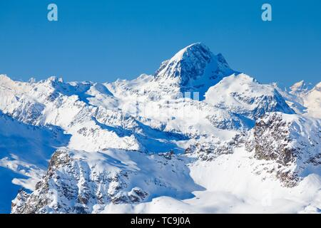Piz Platta - 3392 m, view from Piz Corvatsch, Graubuenden, Switzerland. - Stock Photo