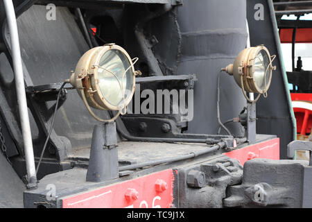 Moscow, RF, 17.03.2019: Museum of steam locomotives in Moscow. Retro steam train. History of steam locomotives in Moscow. - Stock Photo