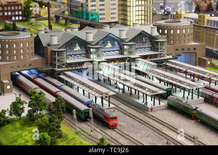 Moscow, RF, 17.03.2019: The layout of the Russian railways in Moscow. History of steam locomotives in Moscow. Locomotive Museum - Stock Photo