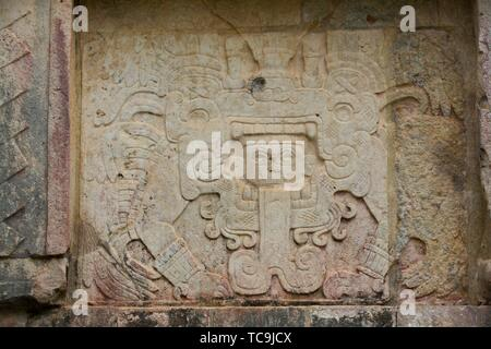Sculptures, Venus Platform, Chichen Itza, UNESCO World Heritage Site, Yucatan, Mexico - Stock Photo
