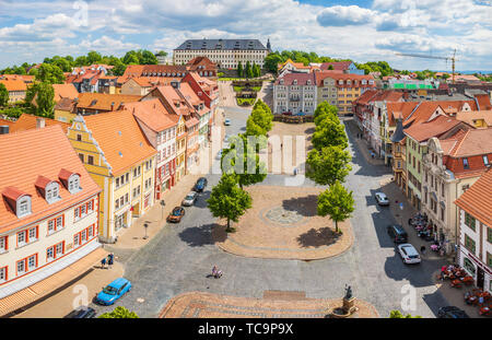 GOTHA, GERMANY - CIRCA MAY, 2019: Townscape of Gotha with Schloss Friedenstein, Thuringia, Germany - Stock Photo