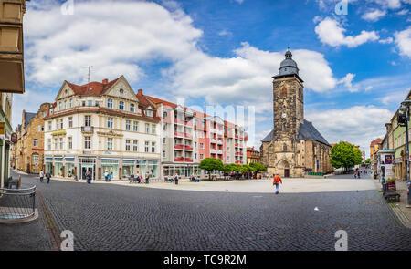 GOTHA, GERMANY - CIRCA MAY, 2019: Margarethenkirche and Neumarkt in Gotha, Thuringia, Germany - Stock Photo