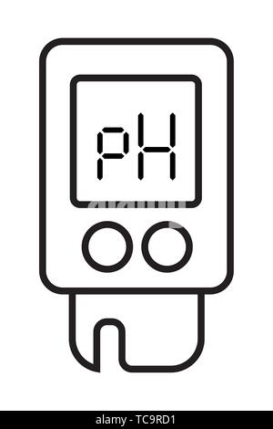 Acidity meter pH. The chemical tester. Icon of thin lines on a white background. Vector illustration. - Stock Photo