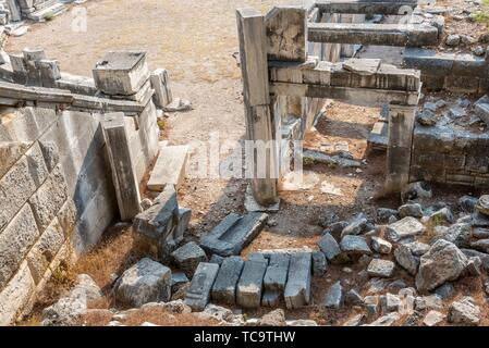 Ruins of ancient theater at Ancient Greek City in Priene,Soke,Aydin,Turkey. - Stock Photo