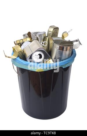 trash can (tin can food and drink) full of cans on white. - Stock Photo