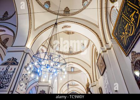 Interior detailed close view of Grand Mosque or Ulu Cami is largest mosque in Bursa,Turkey. 20 May 2018. - Stock Photo
