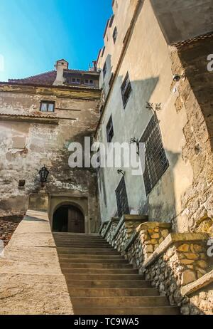 Bottom up view of the main stairway at Bran Castle.