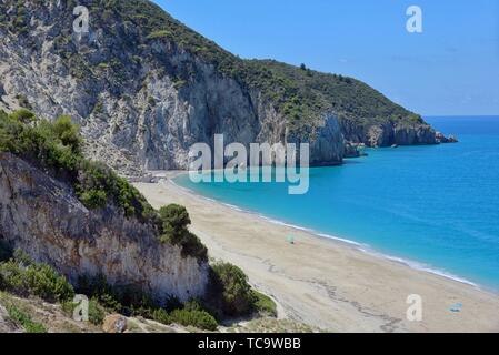 Milos beach on Lefkada island, Greece in summer time. - Stock Photo
