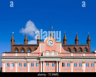 Upper facade of the town hall of the Hanseatic City of Rostock, Mecklenburg-Pomerania, Germany. - Stock Photo