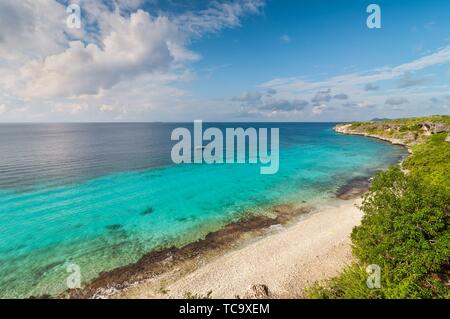 A landmark location on Bonaire for snorkeling, Dutch Caribbean Island. - Stock Photo