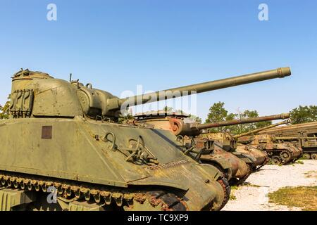 The Museum of Army Collections from the Croatian Homeland War at Karlovac displaying Croatian M4A3E4 Sherman tanks used in the war of independence - Stock Photo
