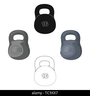 A large metal weight of 16 kg. Iron for strong strokes.Gym And Workout single icon in cartoon,black style vector symbol stock web illustration. - Stock Photo