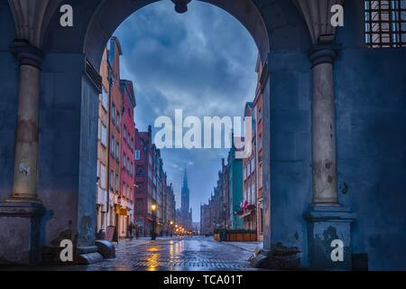 View on the Long Market, the main street of Gdansk, from the Green Gate arch. - Stock Photo