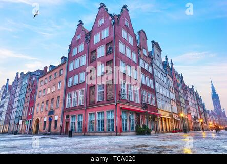 Medieval buildings of Gdansk in Long Market near the Town Hall, no people. - Stock Photo