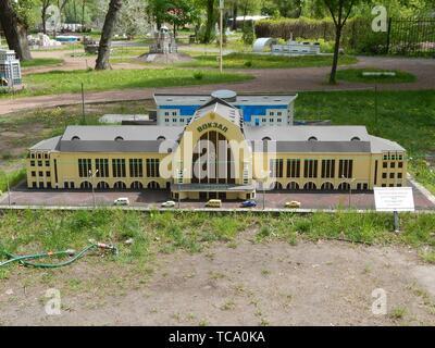 PARK KIEV IN MINIATURE, KIEV, UKRAINE - MAY 1, 2016. Architectural models of the city of Kiev in scale. - Stock Photo